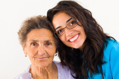loving family member doctor caring about elderly grandmother